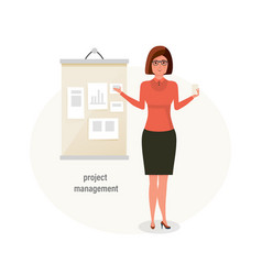 girl office worker engaged in project management vector image
