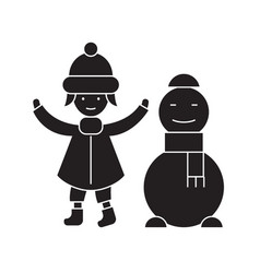 girl with a snowman black concept icon vector image