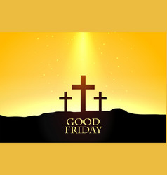 good friday background with crosses scene design vector image