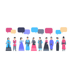 Group of asian people in traditional clothes with vector