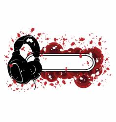 grunge headphones pattern vector image