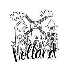 hand drawn symbols of holland vector image