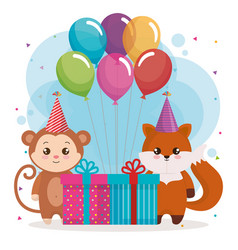 Happy birthday card with fox and monkey vector