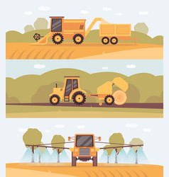 Harvest farm banner set - agricultural machinery vector