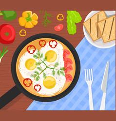 Healthy breakfast top view delicious scrambled vector