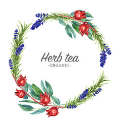 Herbal tea wreath design with lavender roselle vector
