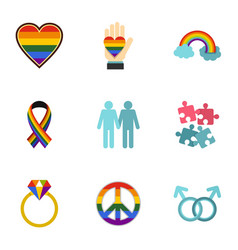Homosexual icons set flat style vector