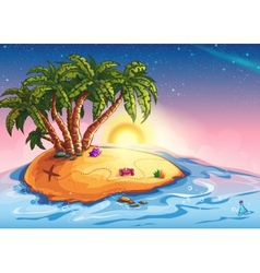 Island with palm trees and treasure vector