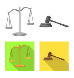 isolated object of law and lawyer icon collection vector image