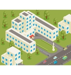 Isometric 3d flat university or college building vector image