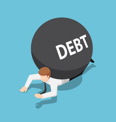 isometric businessman under debt ball vector image