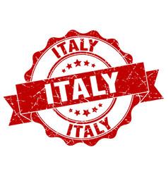 italy round ribbon seal vector image