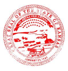 Kansas seal rubber stamp vector