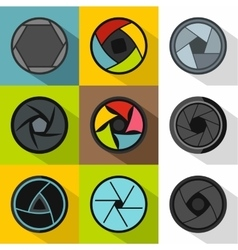 Kind of aperture icons set flat style vector image