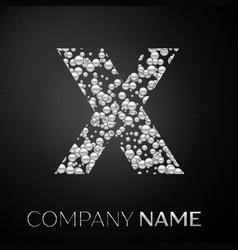 Letter x logo silver dots alphabet logotype vector