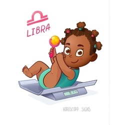 LIBRA horoscope sign Baby Girl lies on the scales vector