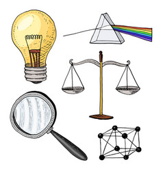 lightbulb and prism crystal lattice and scale vector image