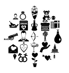Love day icons set simple style vector