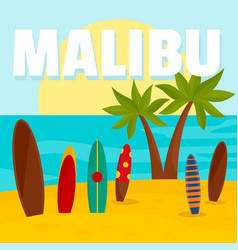 Malibu surf board beach background flat style vector