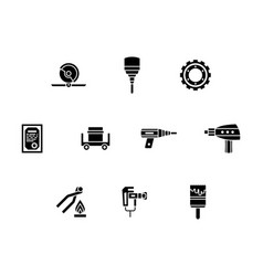 Metal processing tools glyph icons set vector