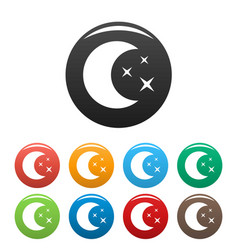 moon night icons set color vector image