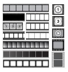 Movie tape 35mm photo strip film camera frames vector