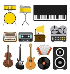 music set icons pop art style vector image