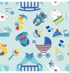 Newborn Baby boy seamless patternPolka dot vector