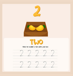 Number two tracing alphabet worksheets vector