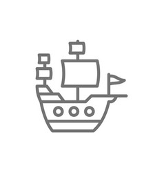 old ship sailing vessel pirates transport line vector image