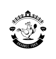 Organic farm chicken meat logo vector