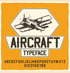original label typeface named aircraft vector image