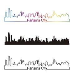 Panama city skyline linear style with rainbow vector