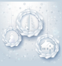 Paper art christmas decorations vector