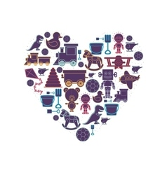 pattern toys in heart shape vector image