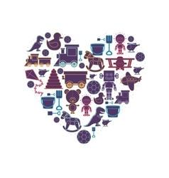 Pattern toys in heart shape vector