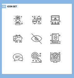 Pictogram set 9 simple outlines deny indian vector
