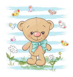 Postcard cute teddy bear flowers and butterflies vector