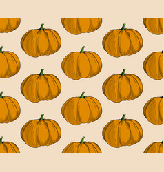 pumpkin pattern on beige background trendy vector image
