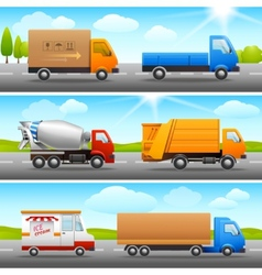 Realistic truck icons on road vector image