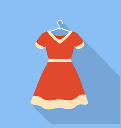 Red dress on hanger icon flat style vector