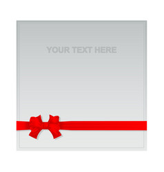 red textile ribbon and bow on square area text vector image