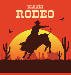 Rodeo cowboy riding a wild bull vector