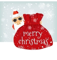 Santa Claus standing near Christmas bag vector