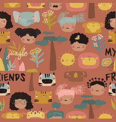 seamless pattern with cute kids faces and jungle vector image