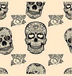 seamless pattern with mexican sugar skulls and vector image