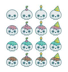 Set birthday halloween party skull element vector