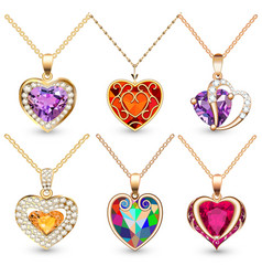 Set pendants with precious stones in form vector