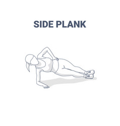 Side plank female home workout exercise guidance vector