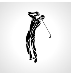 silhouette golf player eps8 vector image